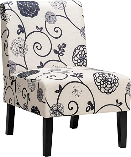 high quality Giantex Armless Accent online sale Chair, w/Curved Backrest, Rubber Wood Legs, Soft Sponge, Comfortable Backrest, Upholstered lowest Fabric Side Chairs, Living Room Slipper Chair (1, Pattern) online