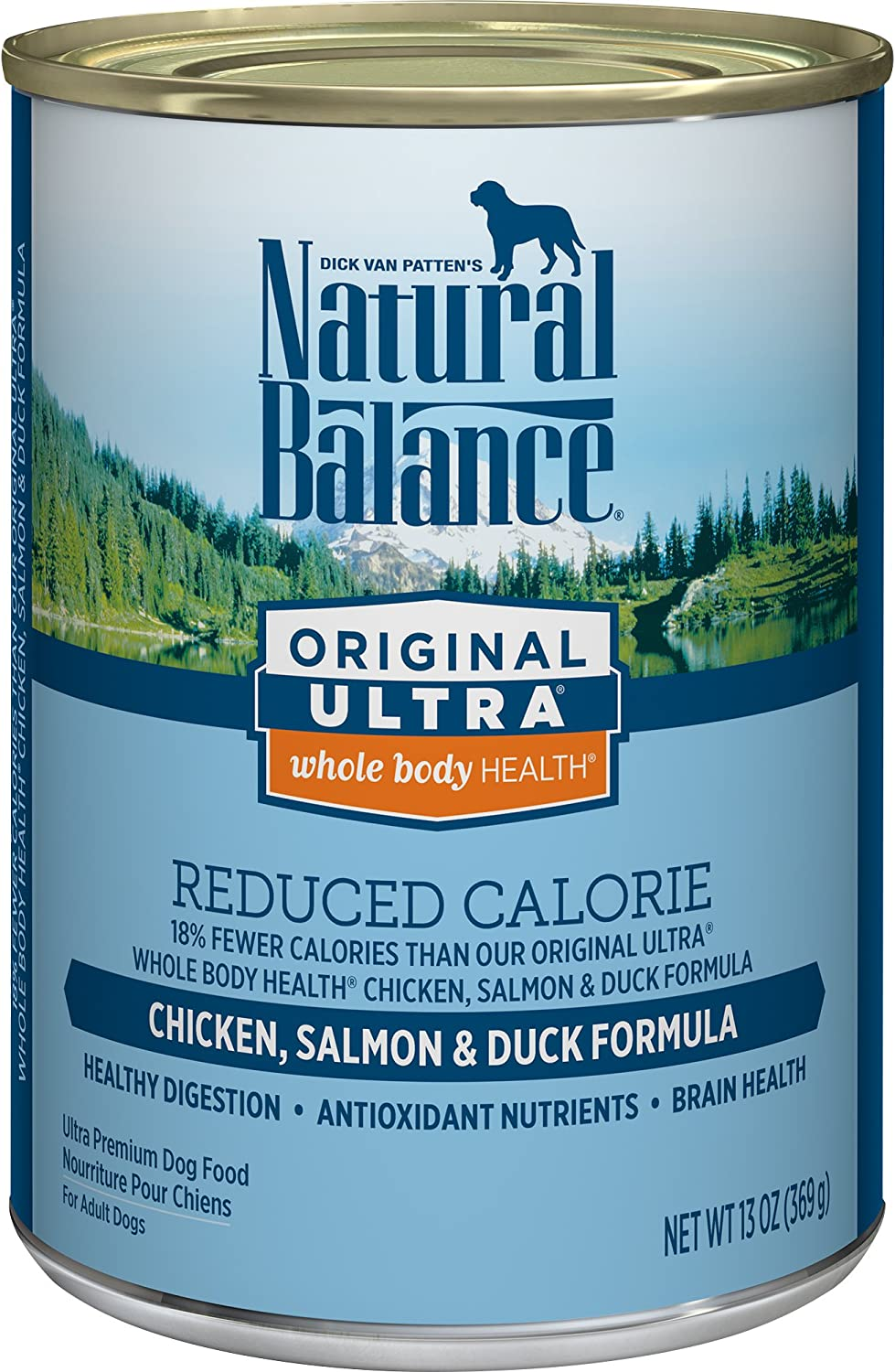 Natural Balance Original Ultra Whole Body Health Reduced Calorie Wet Dog Food Cans, 13Ounce (Pack of 12)
