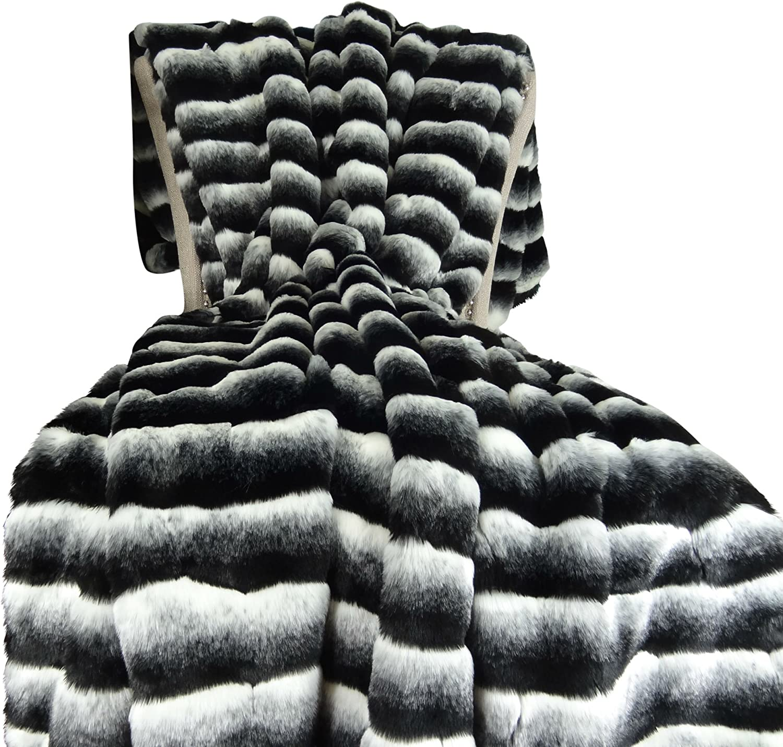 FF47 CHARISMATIC CHINCHILLA Faux Fur Reversible Boa