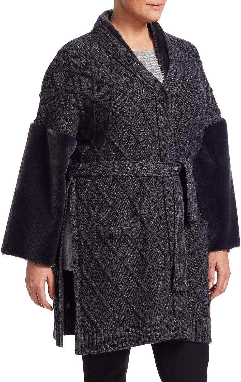 Marina Rinaldi Women's Miceneo Faux Fur Cardigan, Grey