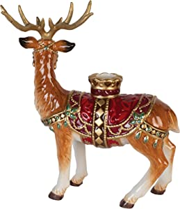 Fitz and Floyd Renaissance Holiday Christmas Candle Holder, Multicolored