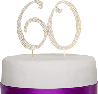 Ella Celebration 60 Cake Topper for 60th Birthday or Anniversary Gold Party Supplies & Decoration Ideas (Gold)