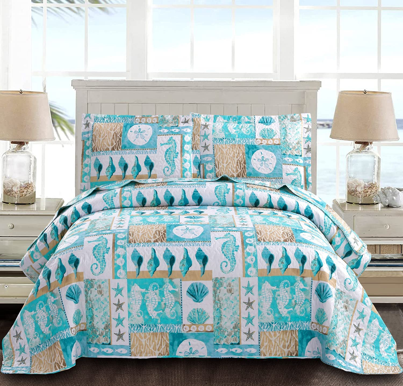 Blue Ocean Quilts Set Full/Queen Size Lightweight Beach Bedspreads Coastal Seashell Conch Seahorse Starfish Bedding 3 Piece Reversible Coverlets Pillow Shams