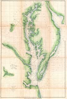 Historical 1855 U.S. Coast Survey Chart or Map of Chesapeake Bay and Delaware Bay - 24 x 36in Fine Art Print - Antique Vintage Map