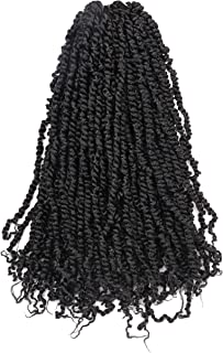 Toyotress Tiana Passion Twist Hair 24 inch Pre-Twisted Passion Twist Crochet Hair 8 Packs (12strands/pack) Pre-Looped Passion Twists Crochet Braids Synthetic Braiding Hair Extension (24 Inch, 1B)