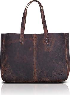 Komalc Genuine Soft Buffalo Leather Tote Bag Elegant Shopper Shoulder BagSALE