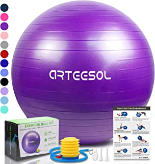 arteesol Exercise Yoga Ball, Extra Thick Stability Balance Ball (45-85cm), Professional Grade Anti Burst&Slip Resistant Balance, Fitness&Physical Therapy, Birthing Ball with Air Pump