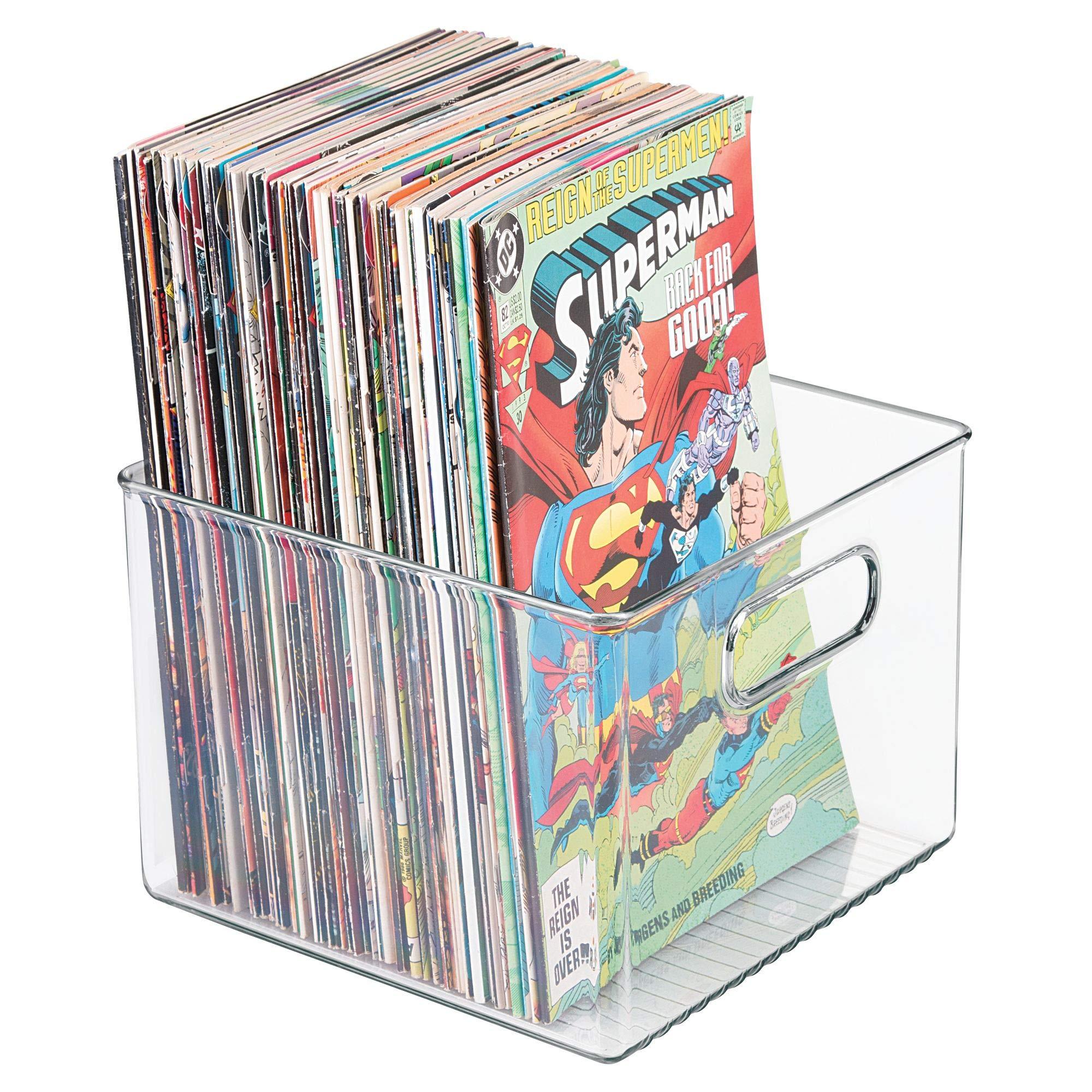 mDesign Juego de 2 Cajas organizadoras de plástico cuadradas – Cajas para cómics, revistas, periódicos, Libros, etc. – Organizadores de Libros con Asas incorporadas – Transparente: Amazon.es: Hogar