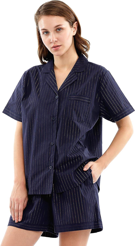 Kansas City Mall Inexpensive Femofit Womens Luxury Pajama Set Short S Sleeve Cotton Sleepwear