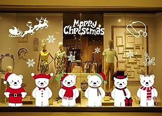 GBQ_Future Feliz Navidad Poco Lindo Oso Blanco Pegatina Copo de Nieve Alce Decoración de Navidad Impermeable Calcomanía Ex...