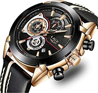 LIGE Watches Mens Casual Sports Chronograph Waterproof Analog Quartz Watch with Black Leather Band Classic Business Big Face Wrist Watch for Men Gold Black