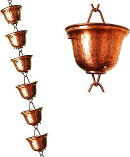 U-nitt 8-1/2 feet Pure Copper Rain Chain for Gutter: Tealight Cup 8.5 ft Length #3124C
