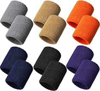 12 Pieces Sweatbands Sports Wristband Sweat Band for Men...