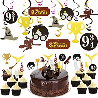Harry-Potter Party Supplies Decoration, Cake and Cupcake Toppers, Wizard Happy Birthday Hanging Swirls for Various of Wiza...
