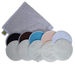 Organic Bamboo Nursing Pads (10 Pack) with Laundry Bag - Ultra Soft,  Offers Good Protection Against Leaking,  Reusable,  Hypoallergenic,  Washable Breastfeeding Pads(Dark Color).