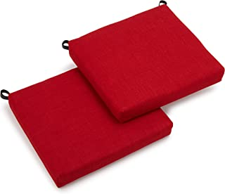 Blazing Needles Outdoor Spun Poly 19-Inch by 20-Inch by 3-1/2-Inch All Weather UV Resistant Zippered Cushions, Paprika, Set of 2