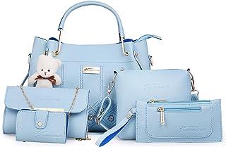 Shining Star Women's Handbag, Sling Bag, Clutch & Card Holder(Set of 5, Sky Blue)