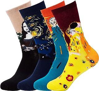 Richaa 4 Pares Calcetines Unisex Divertidos Famoso Arte Maestro Impreso de Alta Calidad Calcetines de Algodón Casual