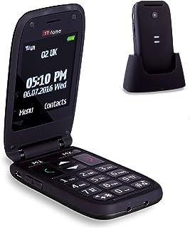 TTfone Meteor Big Button Flip Clamshell Vodafone Pay As You Go UK SIM-Free Mobile Phone - Black
