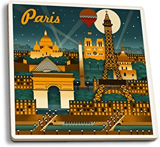 Lantern Press Paris, France - Retro Skyline (Set of 4 Ceramic Coasters - Cork-Backed, Absorbent)