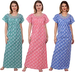 CIERGE Women's Smoking Cotton Fabric Nighty (Green,Blue,Pink) (Pack of 3)
