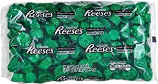 REESE'S Holiday Chocolate Candy, Peanut Butter Cup Miniatures, Green Foils, 4.1 Pounds Bulk Candy Gift