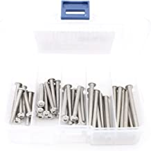 iExcell 50 Pcs M5 x 40mm / 45mm / 50mm / 55mm / 60mm Stainless Steel 304 Hex Socket Button Head Cap Screws Kit, Fully Threaded