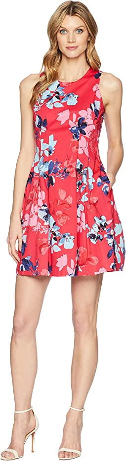 Vince Camuto Printed Cotton Sleeveless Fit and Flare Dress