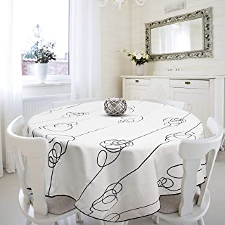 OinkieMoo Round Tablecloth 60 inch - Modern Elegant Polyester Fabric Table Cloth Cover for Kitchen Tables and Outdoor Use. White Decorative Tablecloths are Suitable for Wedding, Banquet, Party