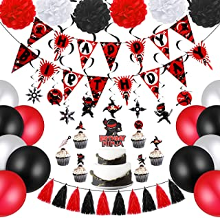 44 Pieces Warrior Birthday Party Supplies Warrior Party Decorations Include Happy Birthday Banner Cake Toppers Party Hangi...
