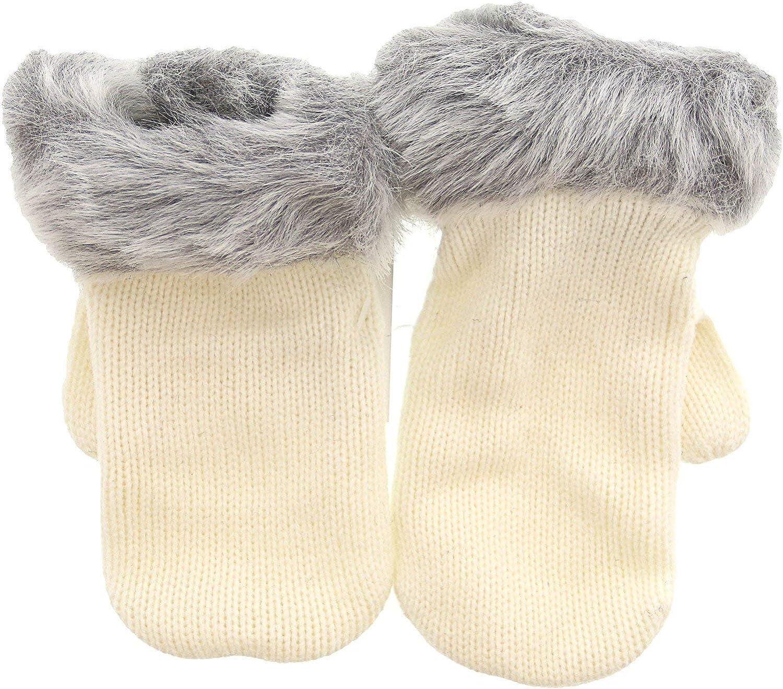 Janie And Jack Faux Fur Trim Mitten Gloves &