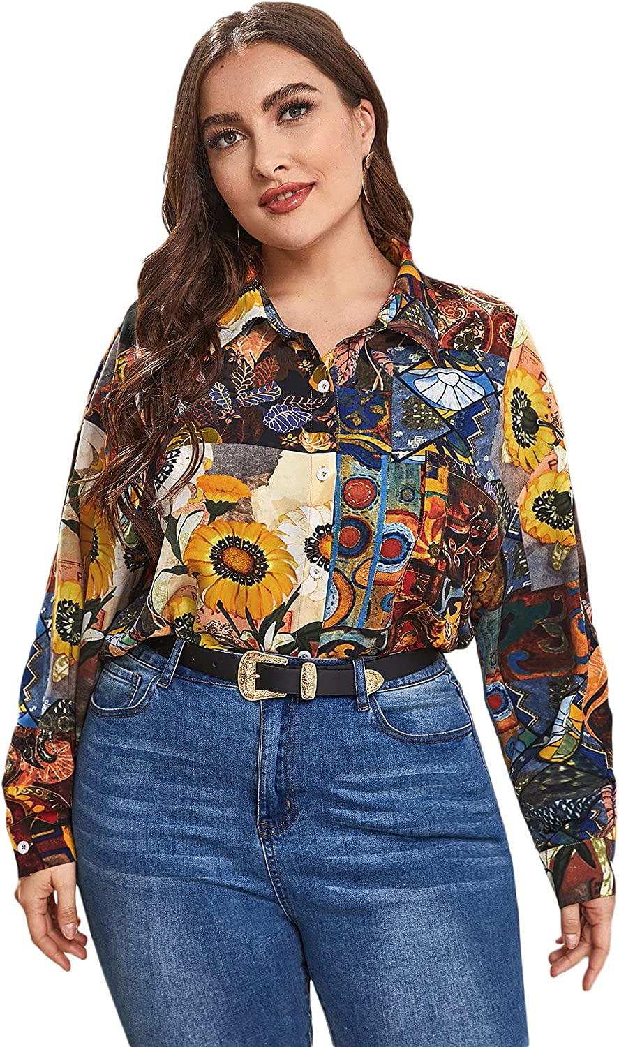 SOLY HUX Women's Plus Size Long Sleeve Notched Neck Chain Print Work Blouse Top