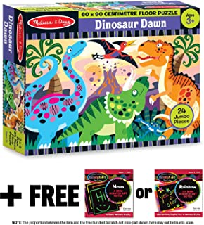 Dinosaur Dawn: 24-Piece Floor Puzzle + FREE Melissa & Doug Scratch Art Mini-Pad Bundle [44257]