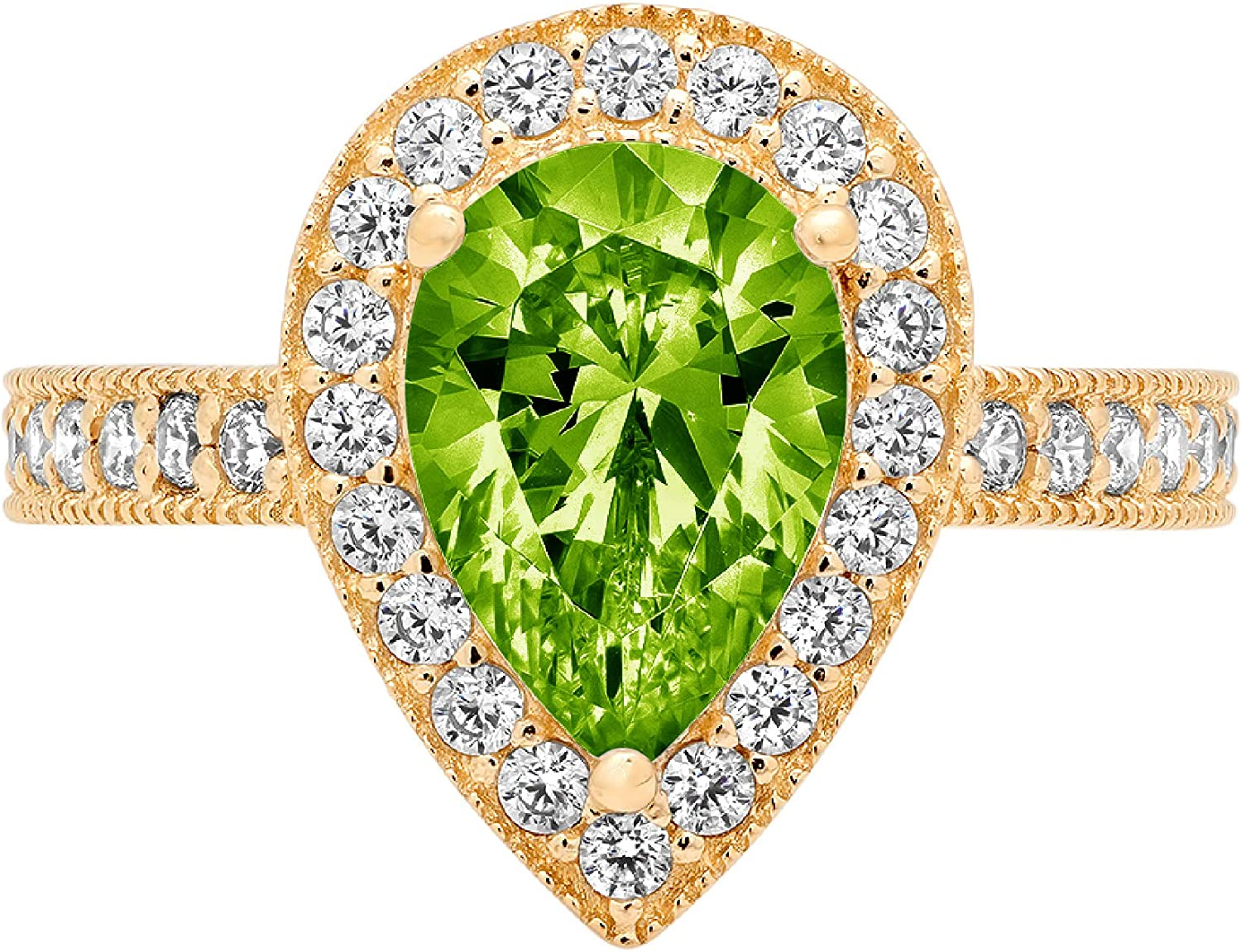 1.98ct Brilliant Pear Cut Solitaire with Accent Halo Flawless Genuine Natural Pure Green Peridot Gemstone VVS1 Designer Modern Statement Ring Solid 14k Yellow Gold