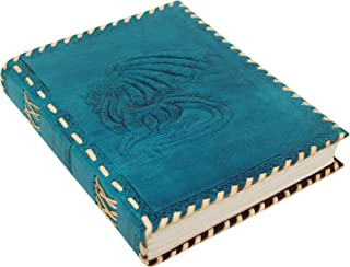 Imperial Handmade Leather Journal with Embossed Dragon Vintage Notebook, Diary, Sketchbook, Travel And Thought Blank Book for Writing & Sketching (9 x 7 Inches) - Turquoise