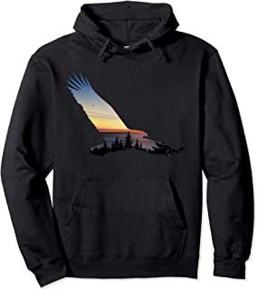 Lovely Flying Eagle Trippy Forest Sky Silhouette Tee Hoodie