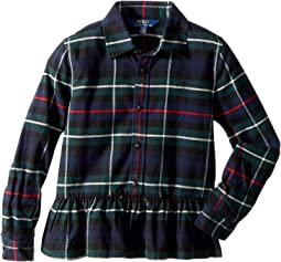 Polo Ralph Lauren Kids - Tartan Cotton Peplum Shirt (Little Kids)