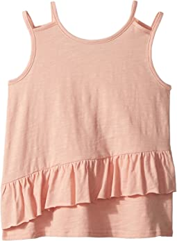 AG Adriano Goldschmied Kids Pigment Dyed Jersey Ruffle Tank Top (Big Kids)