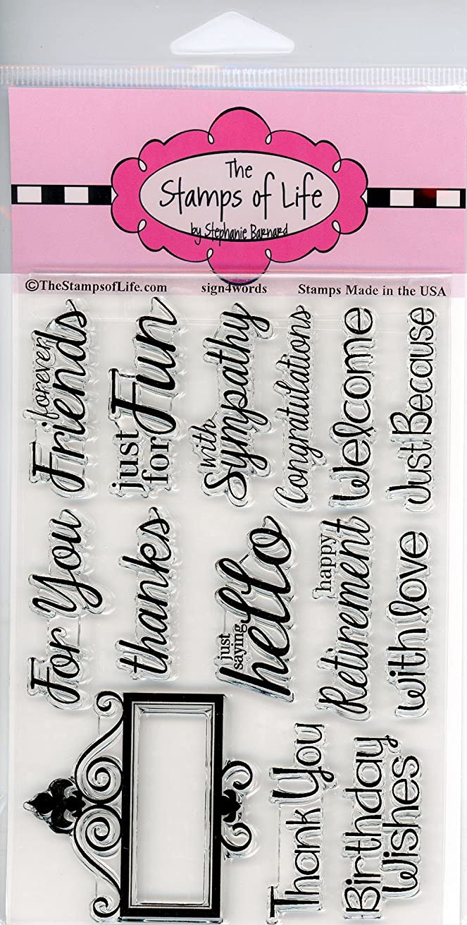 Sign Sentiment Clear Stamps for Scrapbooking and Card-Making by The Stamps of Life - Sign4Words Design Script