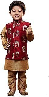 JBN Creation Boys Silk Cotton Kurta Modi Jacket and Pyjama Set (Gold_VASBJMA006nBKRG001nPRG)