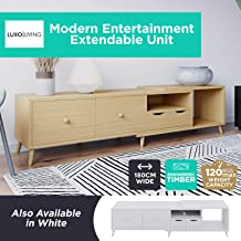 180cm TV Cabinet Modern Entertainment Unit Stand Wooden Lowline 4 Drawers Cabinets Racks Shelves (Natural)