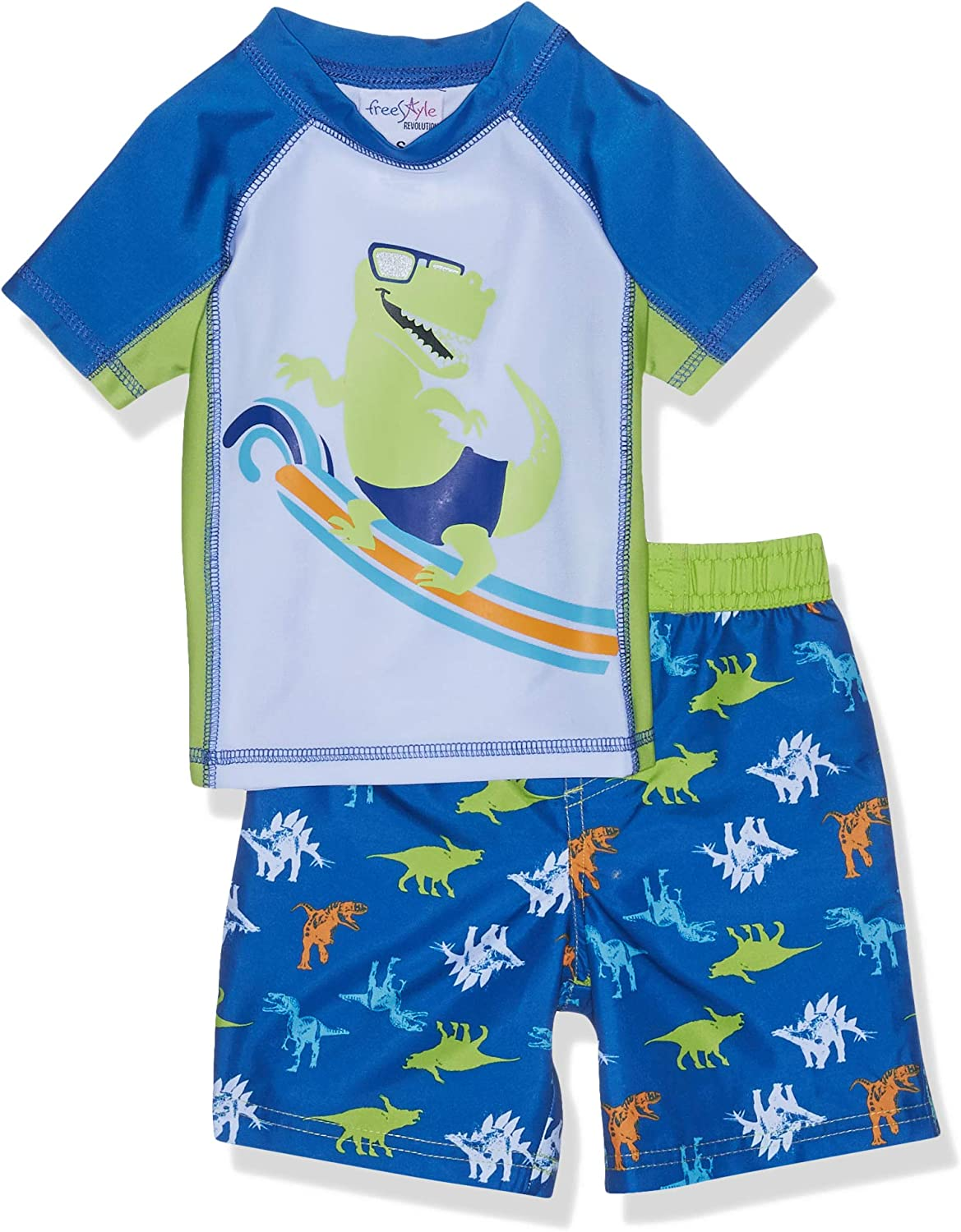 Freestyle Revolution Boys' Dino Surfer Rash Guard Top and Shorts Set Multicolor, 3 Years