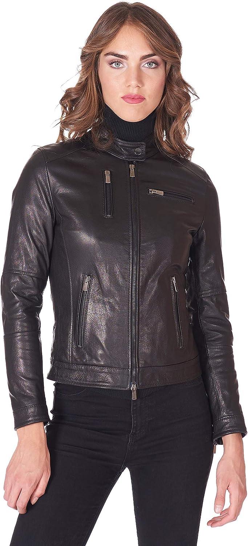 D'Arienzo Black Goat Leather Biker Jacket Four Zipper Pockets