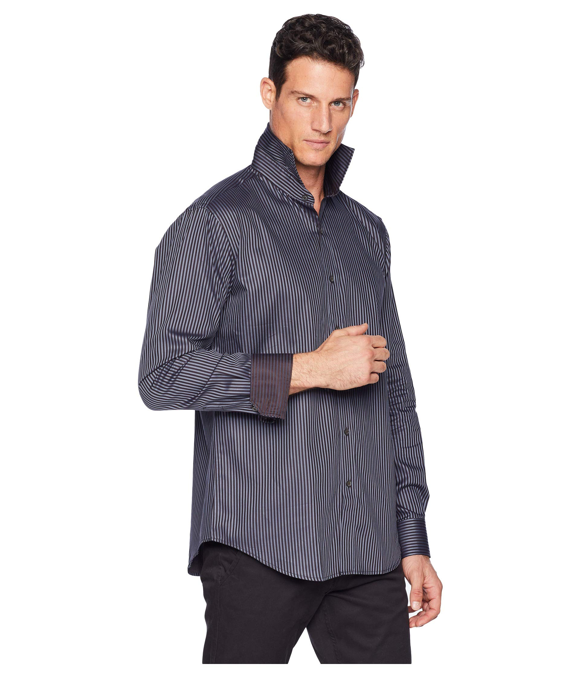 Woven Shaped Charcoal Fit Bugatchi Sleeve Shirt Long ERSSxqI