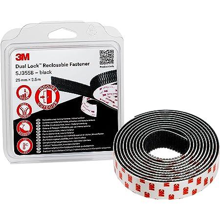 3M Dual Lock SJ355B, solutions de fixations amovibles - convient pour le collage sur le métal, le verre, acrylique, Polycarbonate, ABS et les surfaces peintes - noir, 25mm x 2.5m, 5.7mm (1 blister)