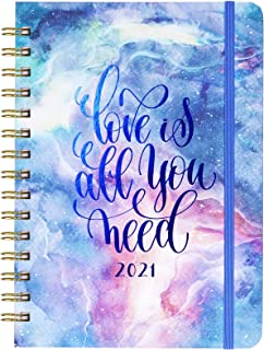 2021 Planner - 2021 Weekly & Monthly Planner with Hard Cover, 6.4'' x 8.5'', Jan 2021 - Dec 2021, Inner Pocket, Elastic Cl...