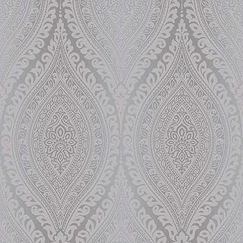 Damask Glitter Vinyl Wallpaper Karla Lilac Metallic Grey Silver Grandeco Life