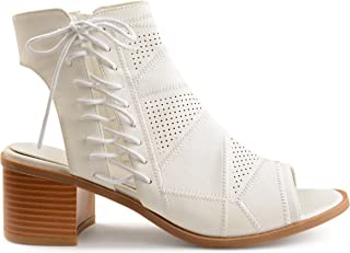 Womens Elva Faux Leather Side Lace-up Perforated Cut-Out Heel Booties