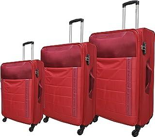 LUGGAGE TRACK Soft TROLLY - 4W - TSA Lock - 3PC SET - RED