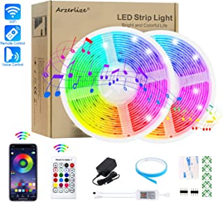 Arzerlize LED Strip Lights 32.8ft 300LEDs WiFi Connect Waterproof Smart RGB LED Strip Lights for Bedroom Music Sync Color Changing Rope Tape Lights for Party Indoor Outdoor APP Control with Remote